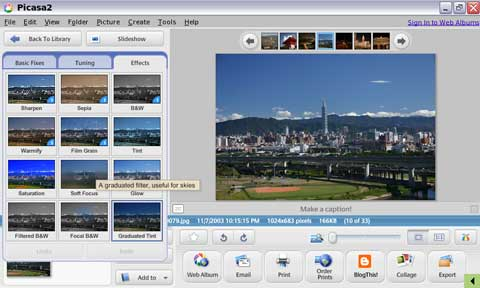Picasa Editing View - with the obscured image tray (bottom left)