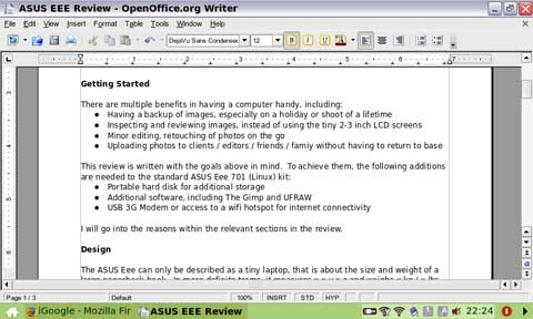 The OpenOffice Writer Word Processor