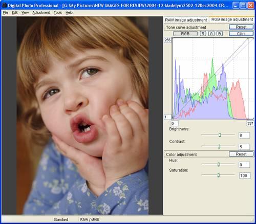 Canon DPP 1.5: Edit Window, RGB image adjustment tab