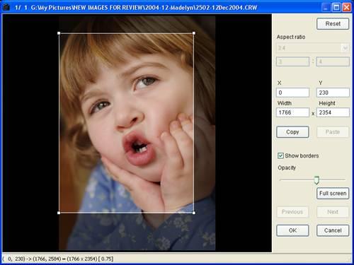Canon DPP 1.5: Trimming tool