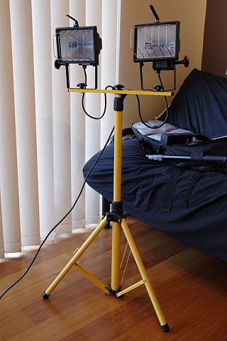 2. This pair of lights with a 6ft tripod cost about US$25 at the local hardware shop
