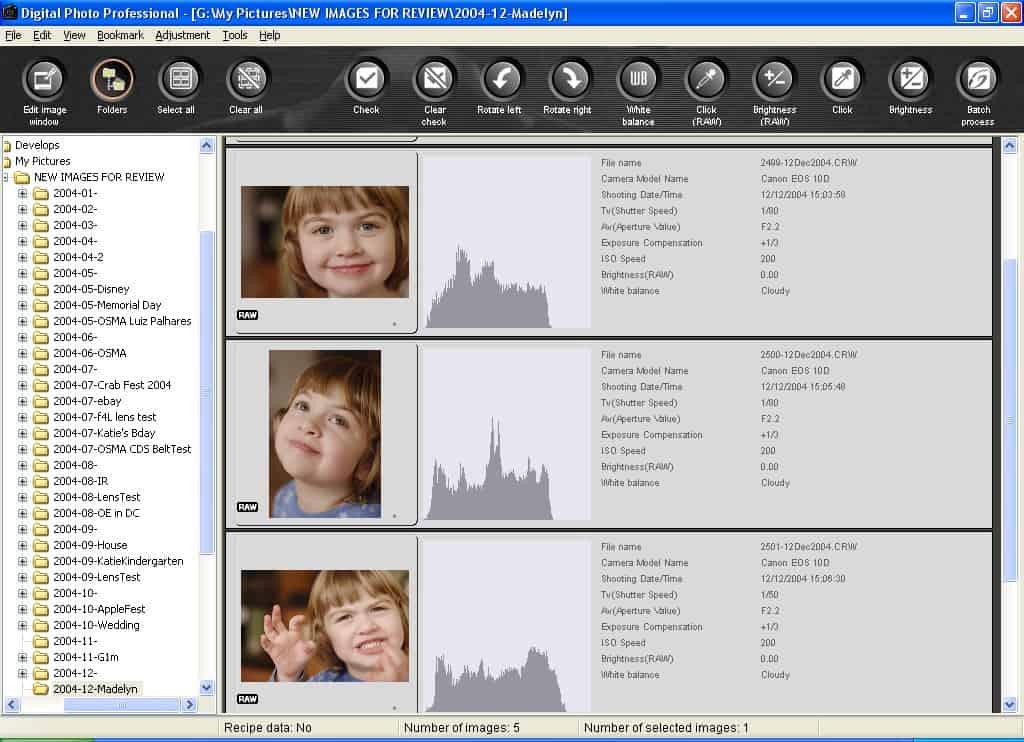 Canon DPP 1.5: Main Window